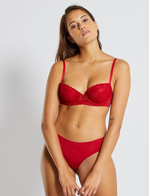 Soutien-gorge push-up dentelle et micro                                                                                                                                                                                                                                                     rouge passion