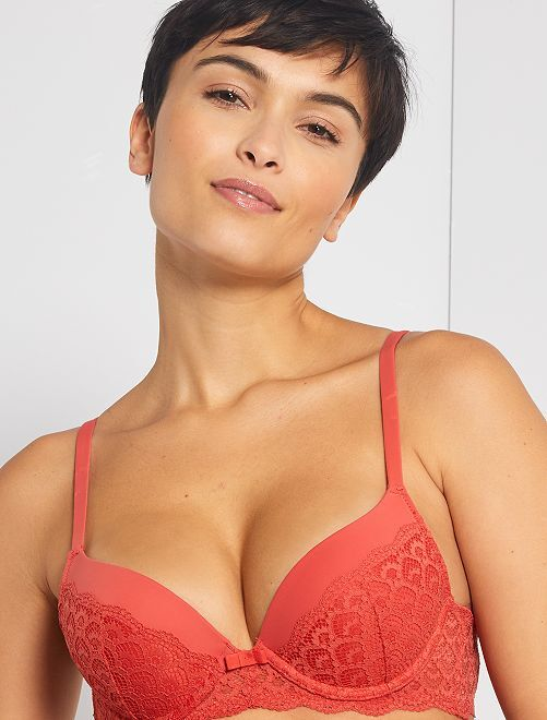 Soutien-gorge push-up dentelle                                                                 orange brique