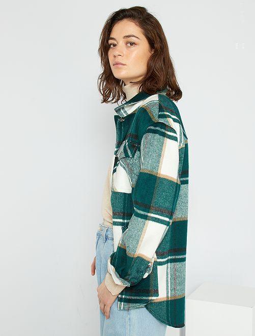 Surchemise en lainage à carreaux                                                     vert
