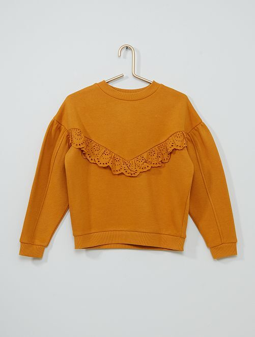 Sweat à broderie anglaise                                         jaune moutarde