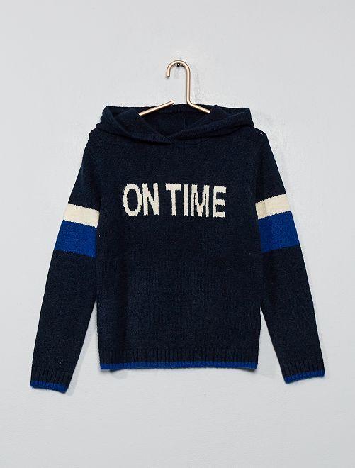 Sweat à capuche avec laine                                         marine/bleu