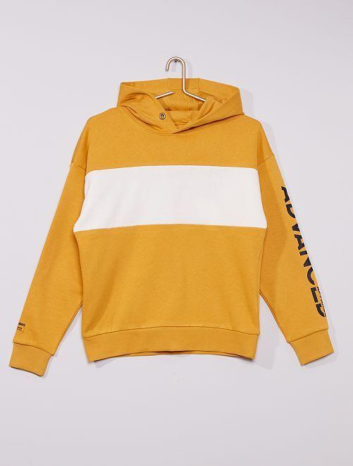 Sweat à capuche bicolore                                                                 jaune