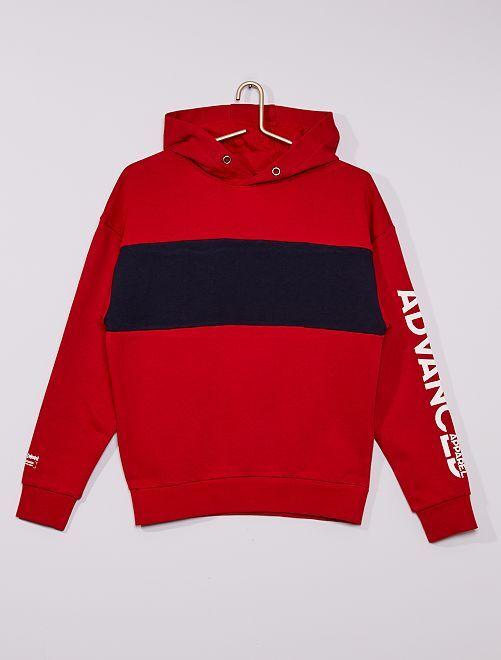 Sweat à capuche bicolore                                                                 rouge