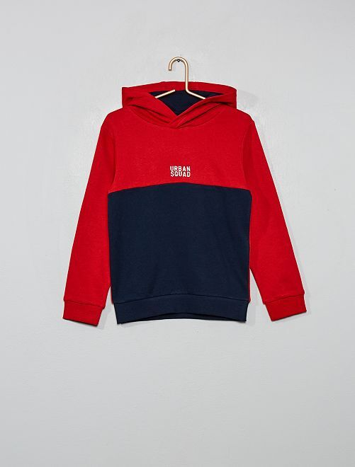 Sweat à capuche bicolore                                                                 rouge/bleu marine