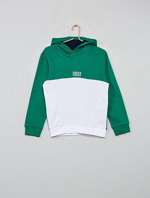 Sweat à capuche bicolore                                                                 vert/blanc