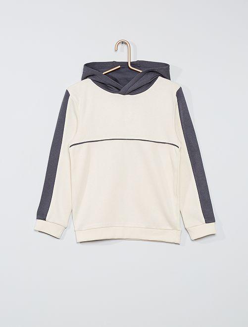 Sweat à capuche                                                     blanc/gris