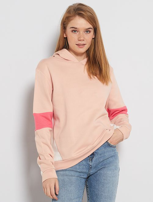 Sweat à capuche colorblock                             rose