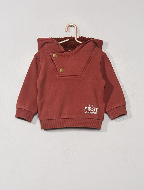 Sweat à capuche doublé                             bordeaux