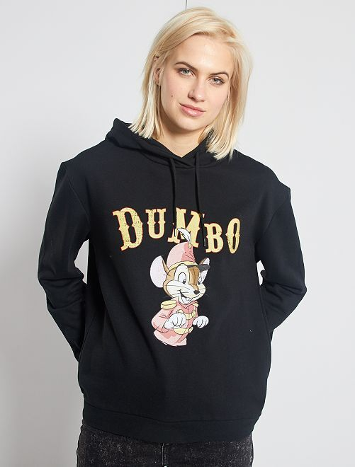 Sweat à capuche 'Dumbo'                                                                 noir/dumbo