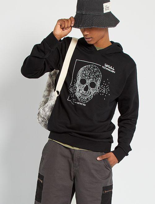Sweat à capuche éco-conçu                                                                                                                                                                                         noir skull
