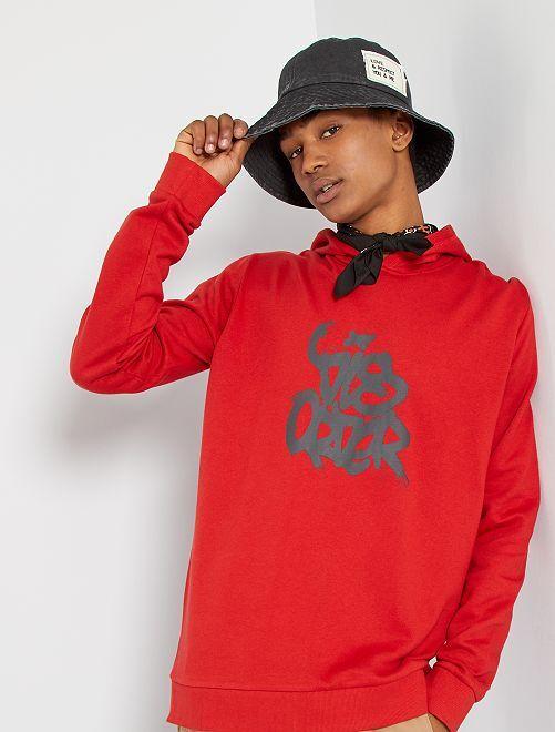 Sweat à capuche éco-conçu                                                                                                                                                                                         rouge graffiti