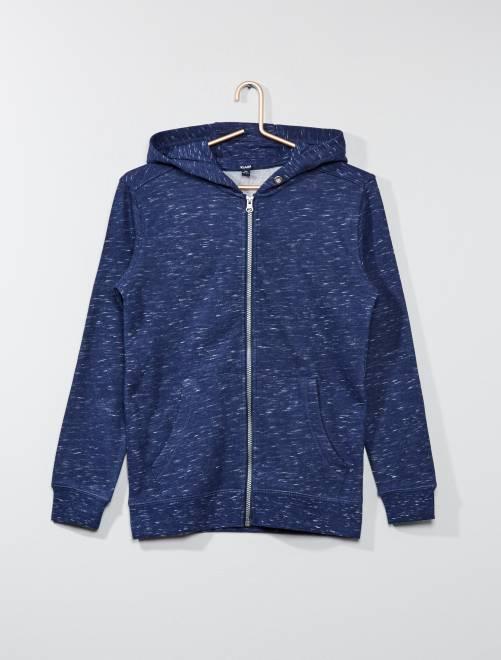 Sweat à capuche en molleton                                                                                                                 bleu chiné Garçon adolescent