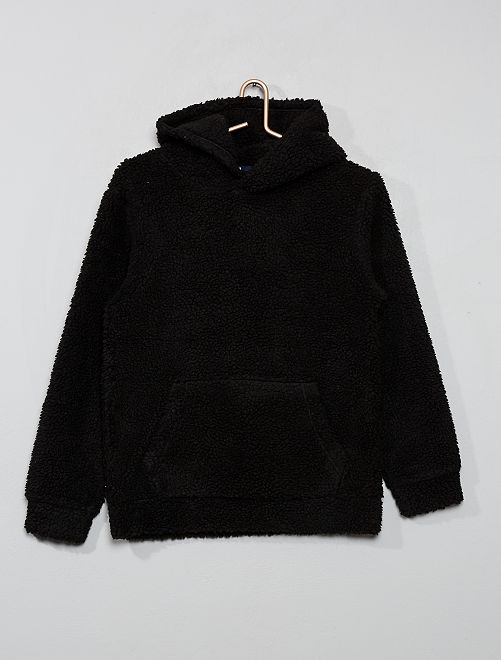 Sweat à capuche en sherpa                     noir