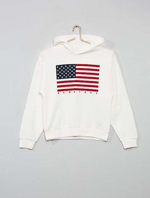 Sweat à capuche imprimé                                                                                                     blanc/drapeau