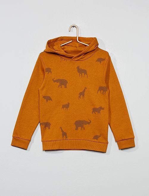 Sweat à capuche imprimé                                                                                                                 camel