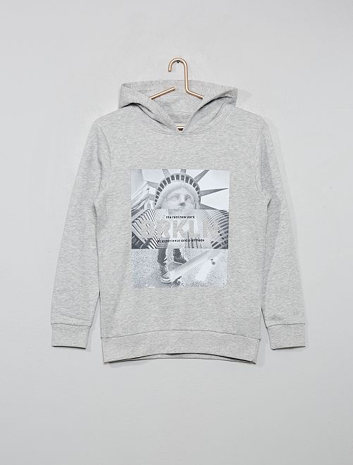Sweat à capuche imprimé                                                                             gris clair