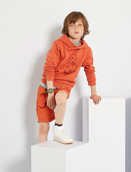 Sweat à capuche imprimé                                                                                         orange