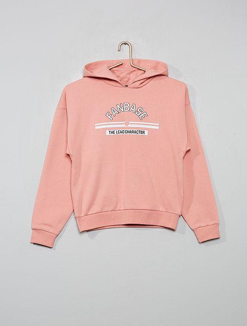 Sweat à capuche imprimé                                             rose