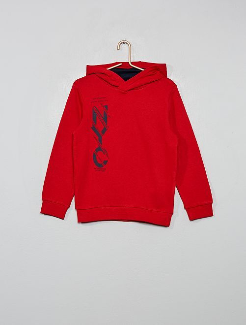 Sweat à capuche imprimé                                                                 rouge