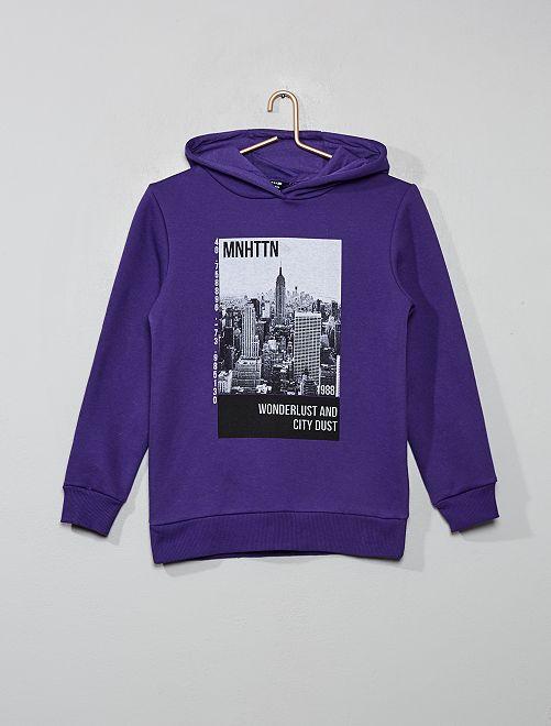 Sweat à capuche imprimé                                         violet