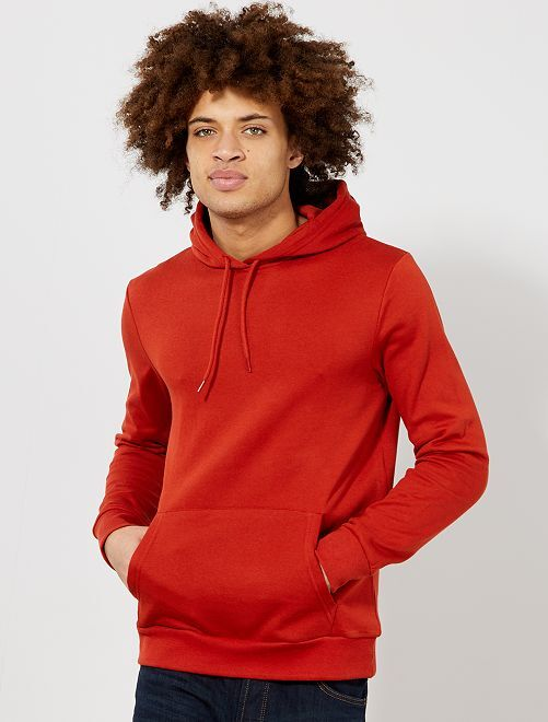 Sweat à capuche molleton léger                                                                                                                             orange Homme