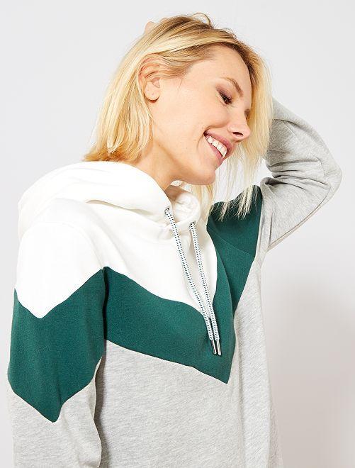 Sweat à capuche motif 'chevron'                             gris/vert Femme