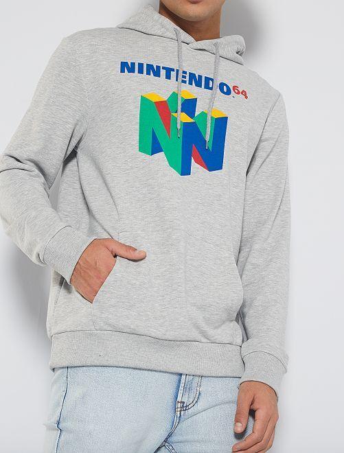 Sweat à capuche 'Nintendo 64'                             gris clair chiné