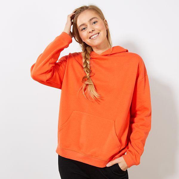 sweat à capuche orange femme