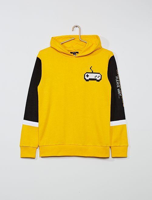 Sweat à capuche retro-gaming                             jaune