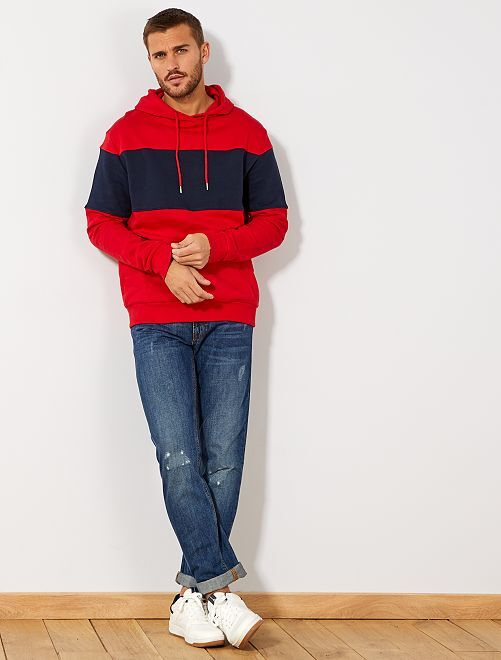 Sweat à capuche                                                     rouge/marine Homme