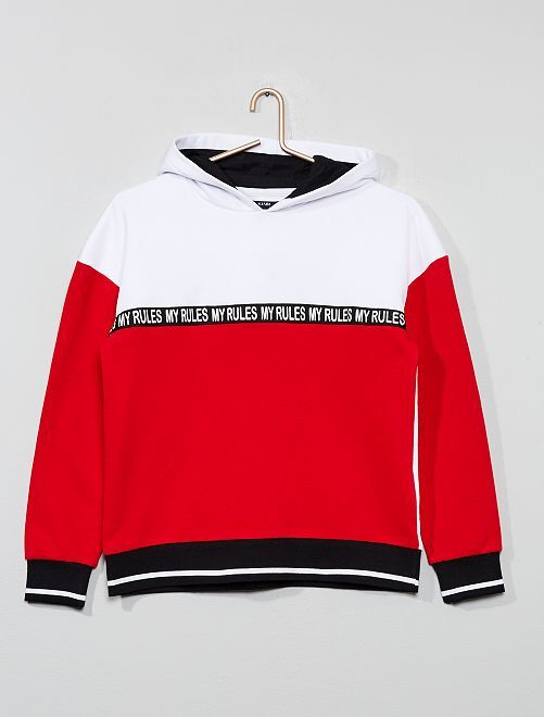 Sweat à capuche tricolore                             bleu/blanc/rouge Fille adolescente