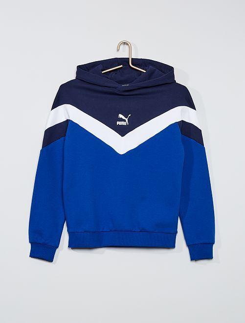 Sweat à capuche tricolore 'Puma'                             bleu