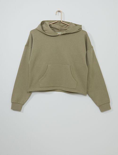 Sweat à capuche uni éco-conçu                                                                 kaki brun