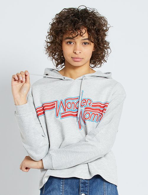 Sweat à capuche 'Wonder Woman'                             gris chiné