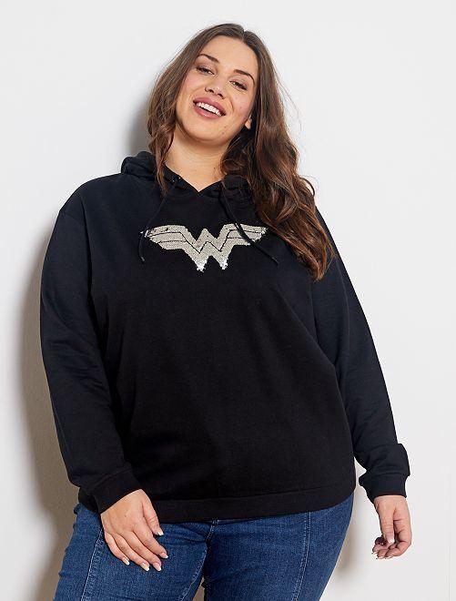 Sweat à capuche 'Wonder Woman'                             noir