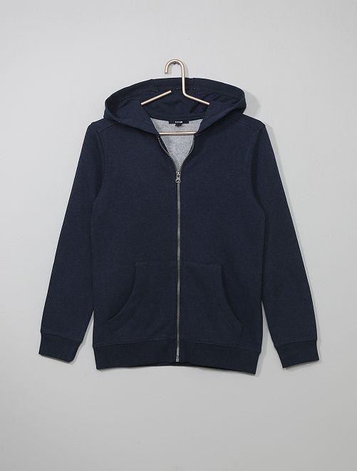 Sweat à capuche zippé                                 bleu marine