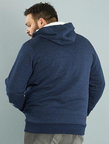 sweat capuche zipp int rieur fourr grande taille homme bleu marine kiabi 45 00. Black Bedroom Furniture Sets. Home Design Ideas