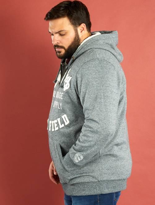 sweat capuche zipp int rieur fourr grande taille homme gris kiabi 45 00. Black Bedroom Furniture Sets. Home Design Ideas