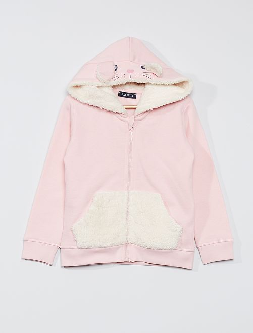 Sweat à capuche zippé 'lapin'                                         rose pale
