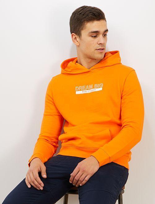 Sweat à message en coton bio                                         orange