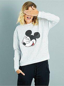Sweat col rond - Sweat à pois imprimé 'Mickey'