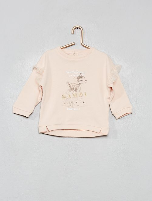 Sweat à volants 'Disney'                                         rose