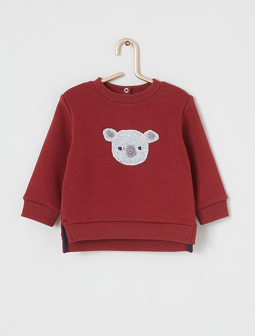 Sweat 'animal' en crochet                                                     bordeaux/gris