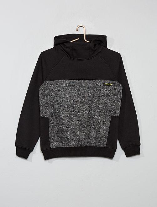 Sweat bicolore à capuche                             noir