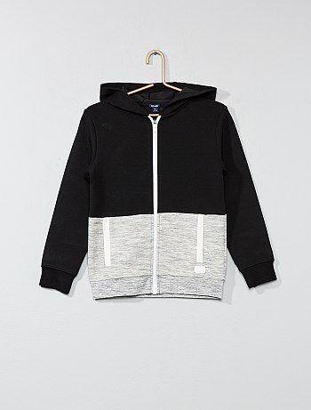 Sweat bicolore zippé à capuche - Kiabi