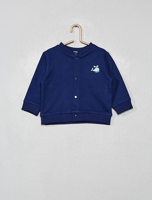 Sweat boutonné forme blouson                             bleu