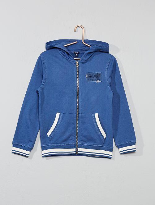 Sweat brodé à capuche                     bleu
