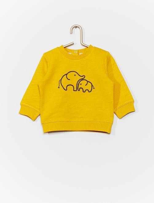 Sweat brodé 'animaux'                     jaune