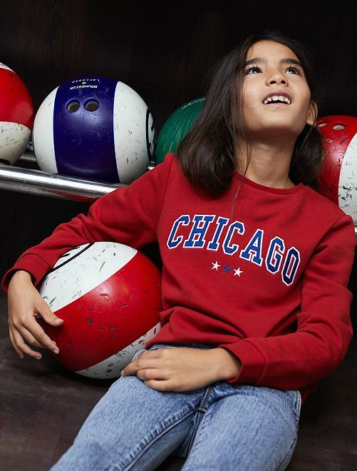 Sweat brodé 'Chicago'                             rouge