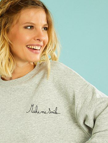 Sweat brodé message                     gris chiné clair Femme